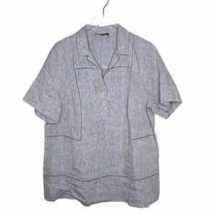 Lafayette 148 Linen Chambray Short Sleeve Top XL